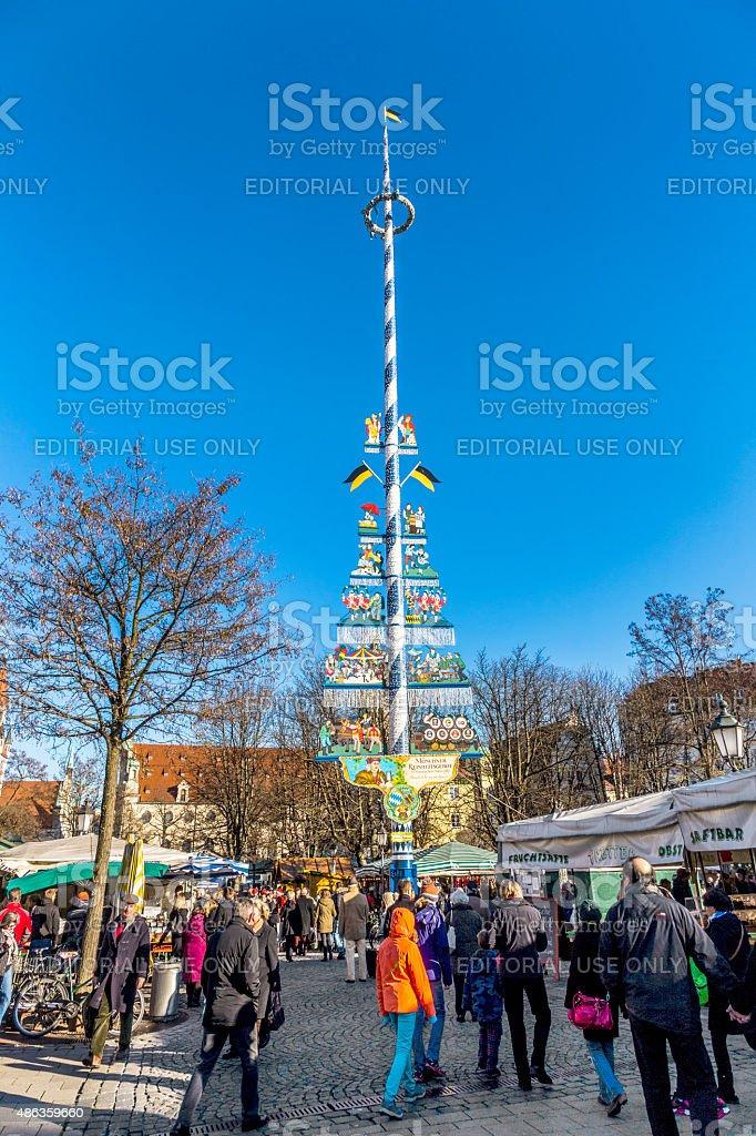 Tourists at the Viktualienmarkt in Munich stock photo