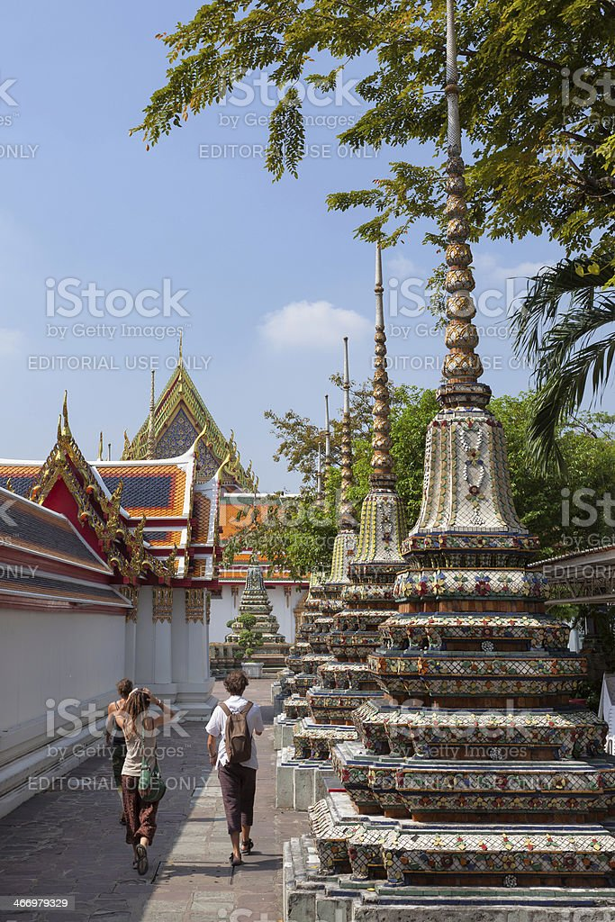 Tourists at the Wat Pho complex royalty-free stock photo