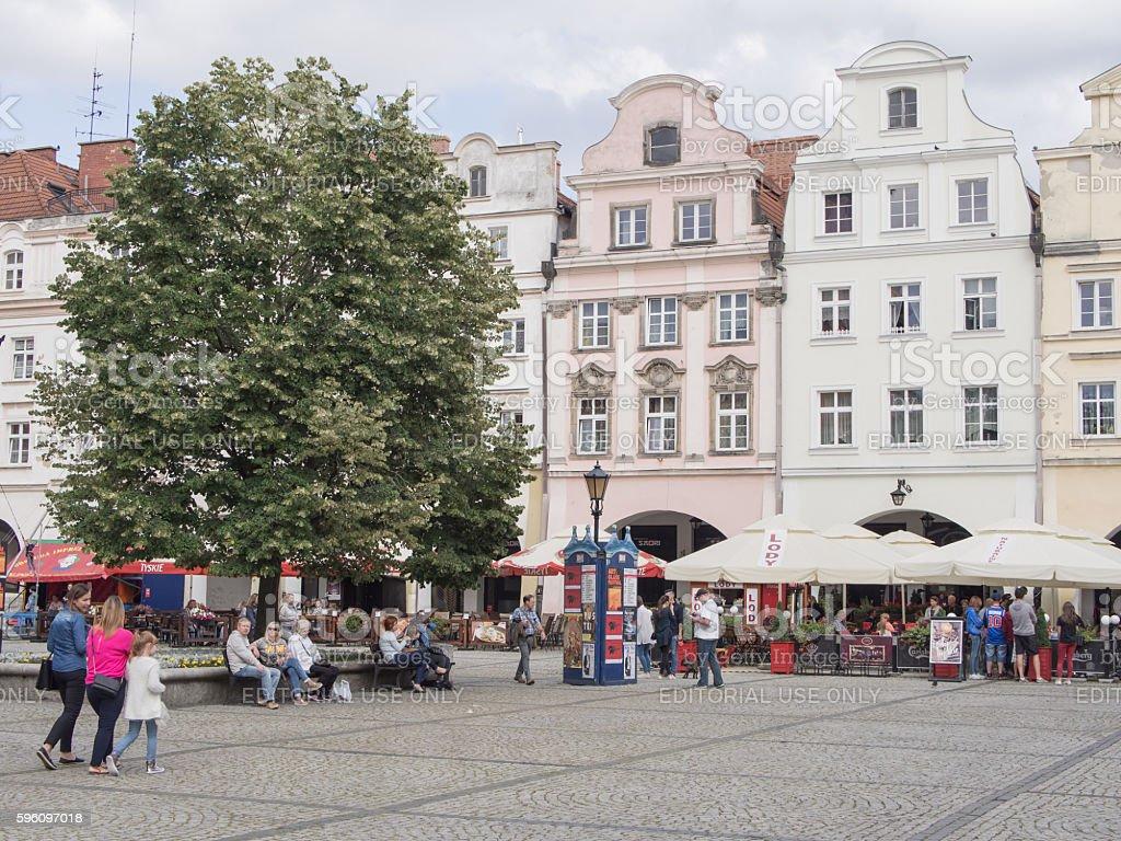 Tourists At Townhall Square in Jelenia Gora, Poland royalty-free stock photo