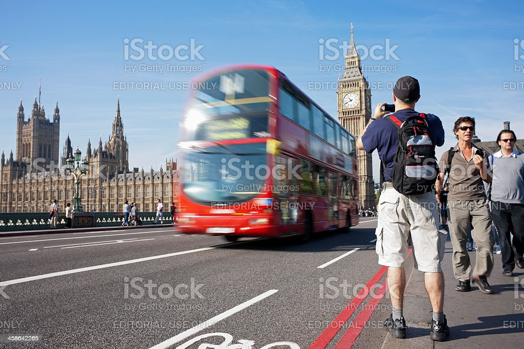 Tourists at Westminster. stock photo
