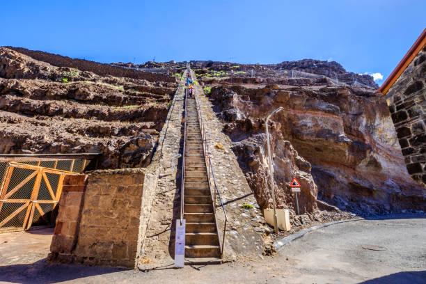 Tourists climbing down Jacobs Ladder Jamestown stock photo