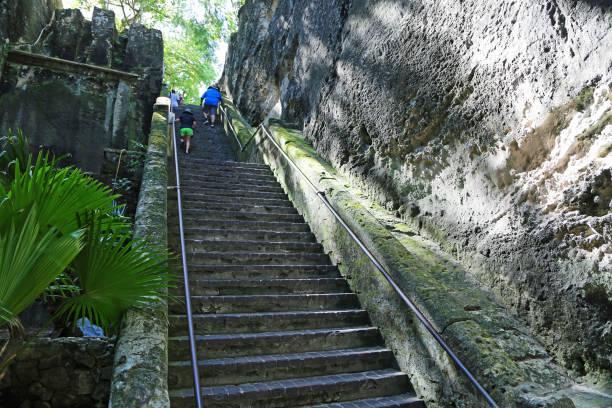 toeristen klimmen queen's staircase - nassau new providence stockfoto's en -beelden