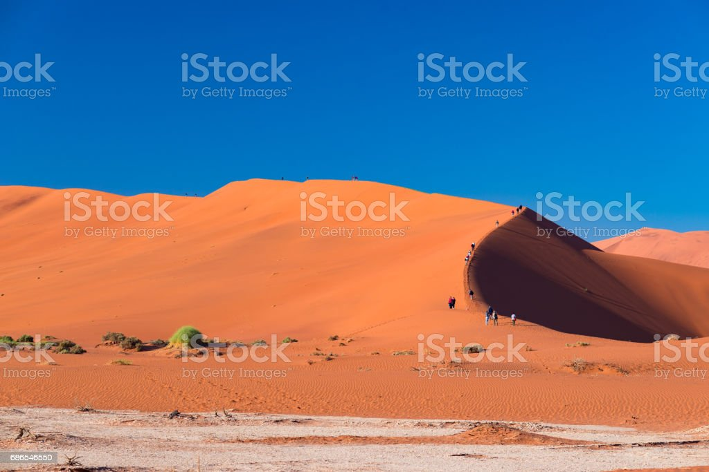 Tourists climbing the scenic sand dunes in Sossusvlei royalty free stockfoto