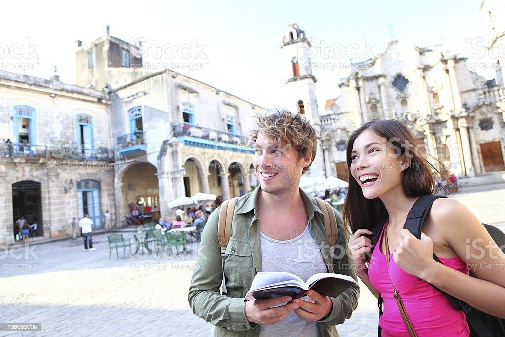 Tourists couple travel in Havana, Cuba royalty-free stock photo