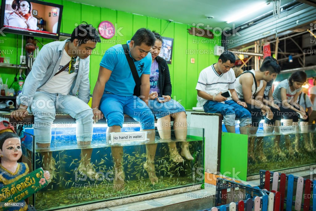 Tourists enjoy a bath with doctor fishes, Chiang Mai, Thailand stock photo