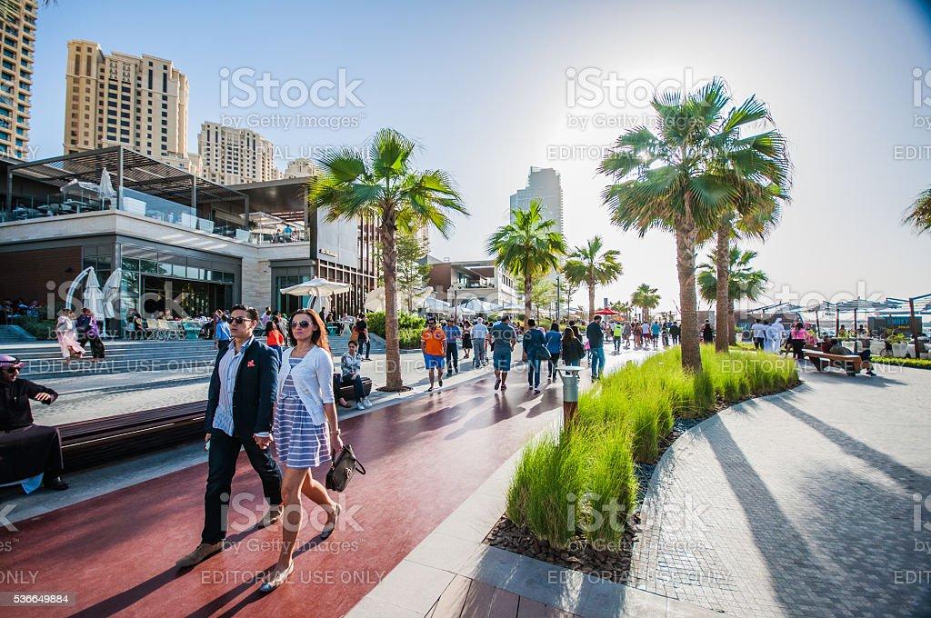 Tourists enjoy newly opened Jumeirah Beach  . stock photo