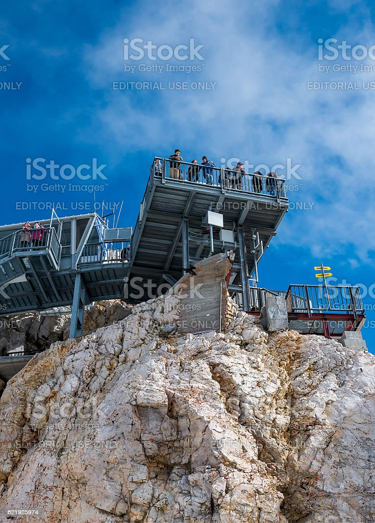 Tourists enjoy panorama at the top of Zugspitze (Austria) stock photo