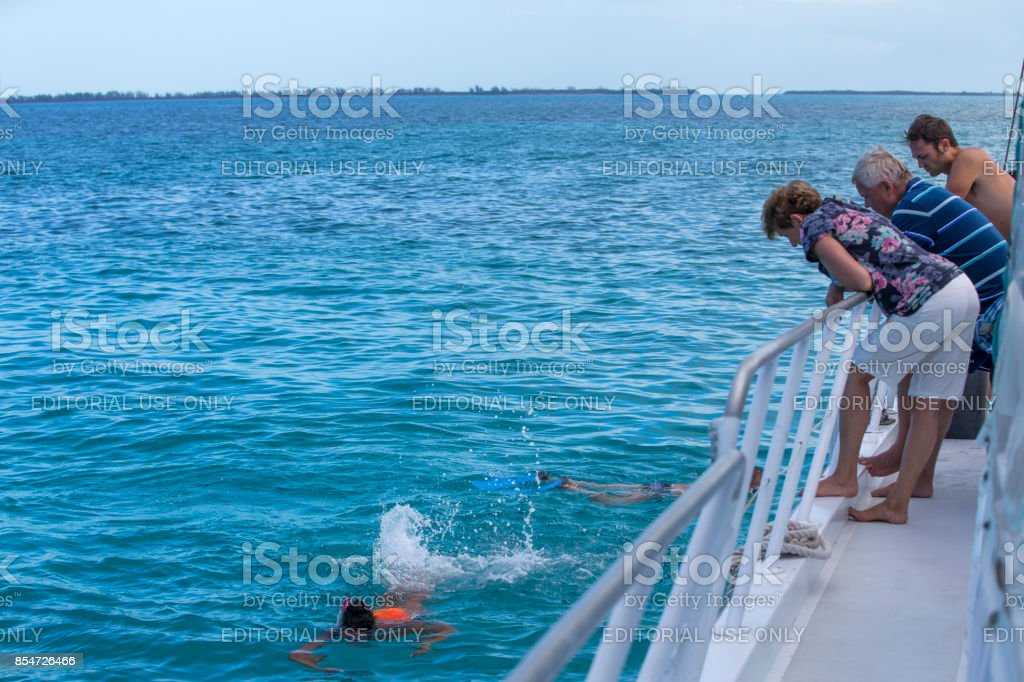 Tourists Enjoy the Vacation at Cayo Largo, Cuba stock photo