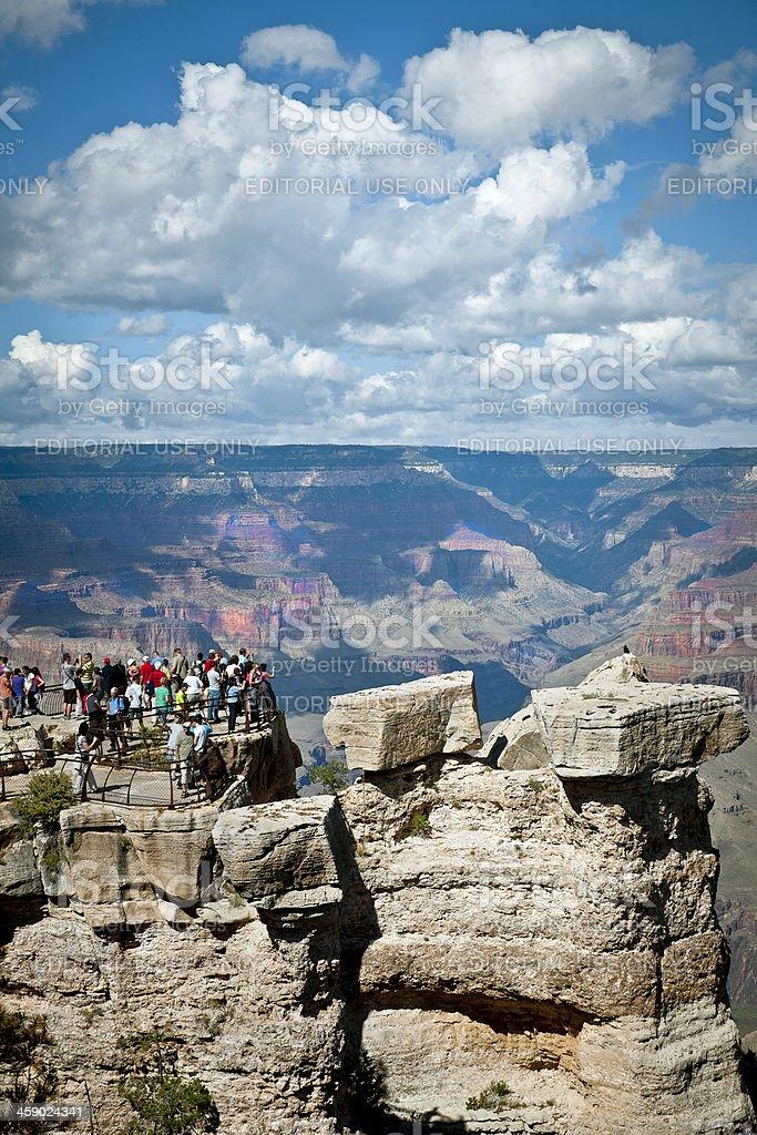 Tourists Enjoying Beauties of Grand Canyon USA stock photo