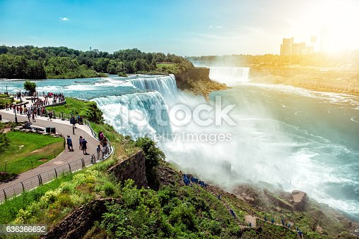 istock Tourists enjoying beautiful view to Niagara Falls during sunny day 636366692