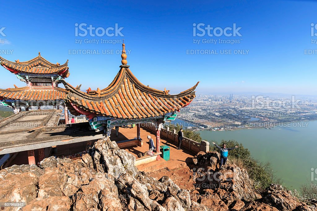 Tourists enjoying the view of Kunming, China stock photo