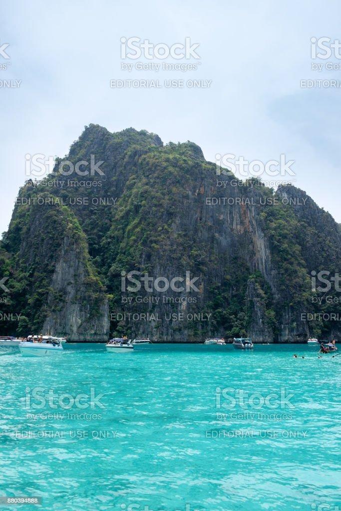 Tourists enjoying with turquoise sea at Pileh Lagoon stock photo