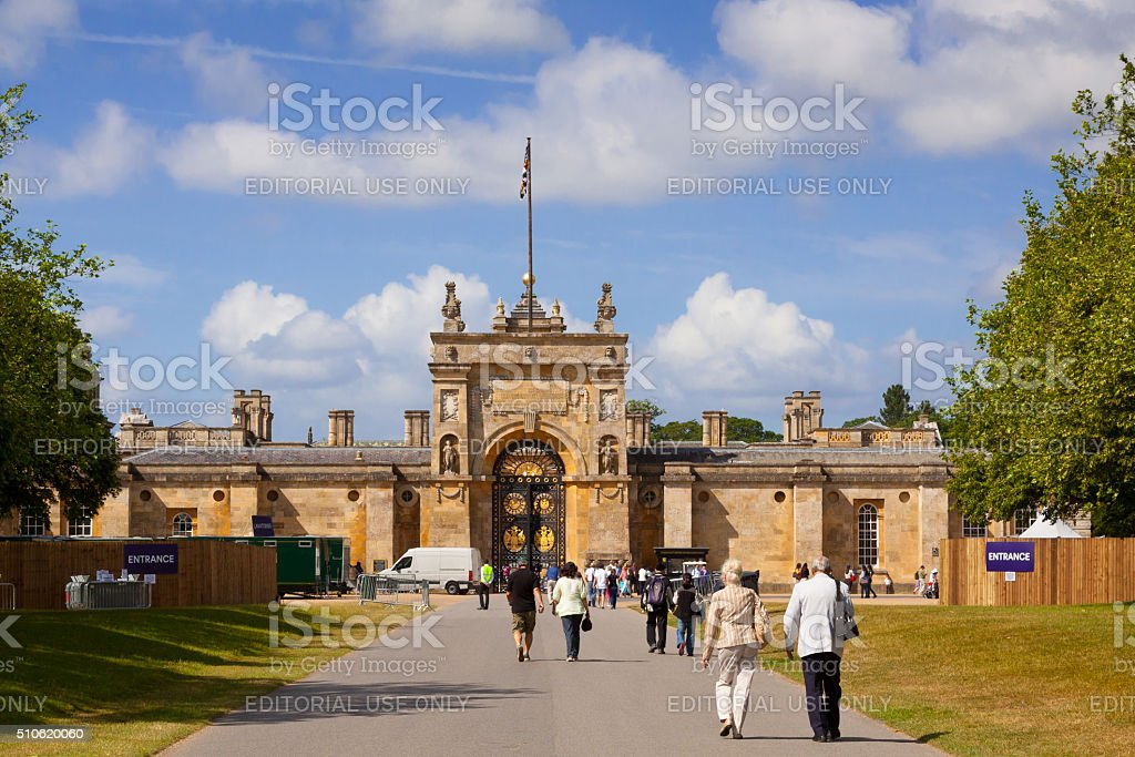 Tourists Entering Blenheim Palace, Woodstock, Oxfordshire, England, United Kingdom. stock photo