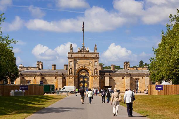 Tourists Entering Blenheim Palace, Woodstock, Oxfordshire, England, United Kingdom. stock photo