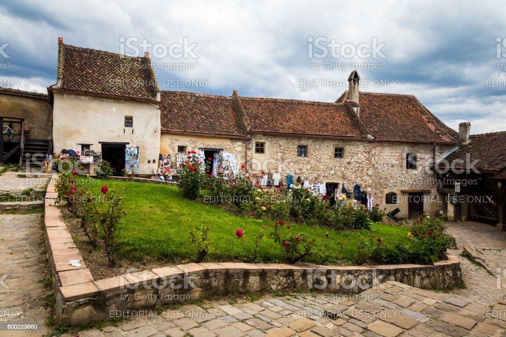 Tourists exploring the medieval village of Rasnov, Transylvania, Romania stock photo