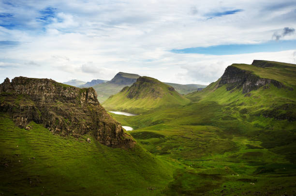 Tourists favourite place in Scotland - Isle of Skye. Scotland green nature. Top of the mountains. Beautiful nature. Scottish Highlands. stock photo