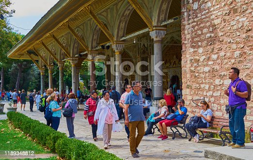 Istanbul, Turkey, September 21., 2018: Tourists from different countries in front of the Topkapi palace