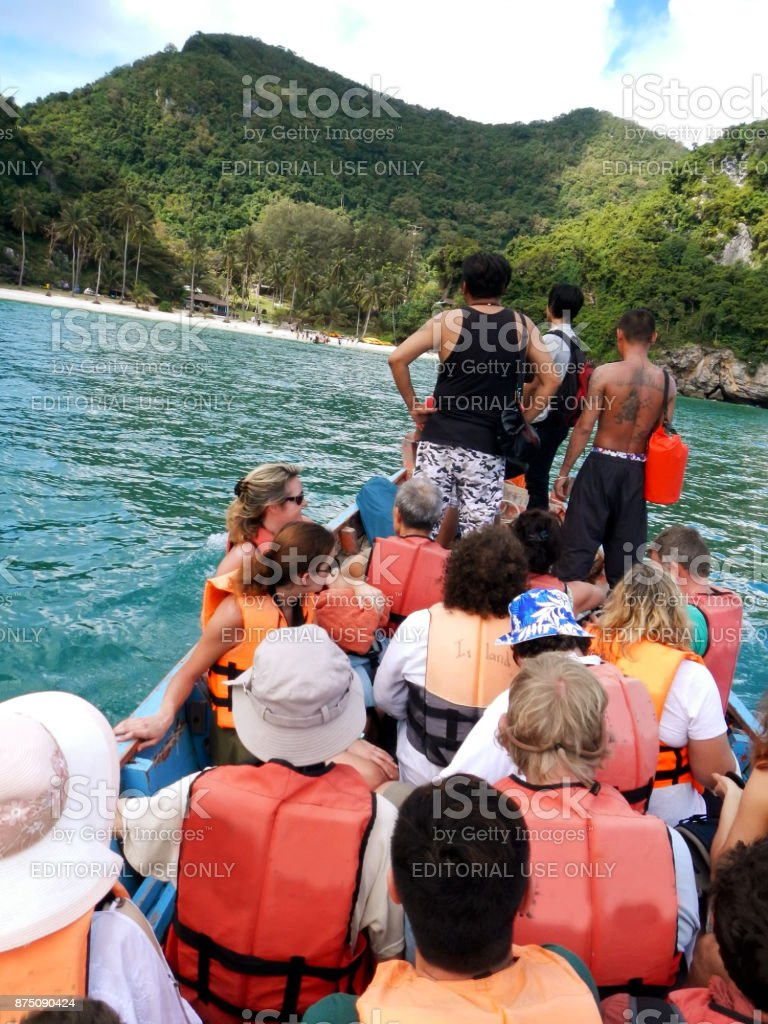 Tourists getting to Wua Talab island, Ang Thong National Park stock photo