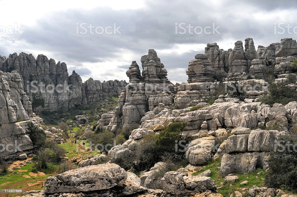 Tourists hiking in El Torcal stock photo