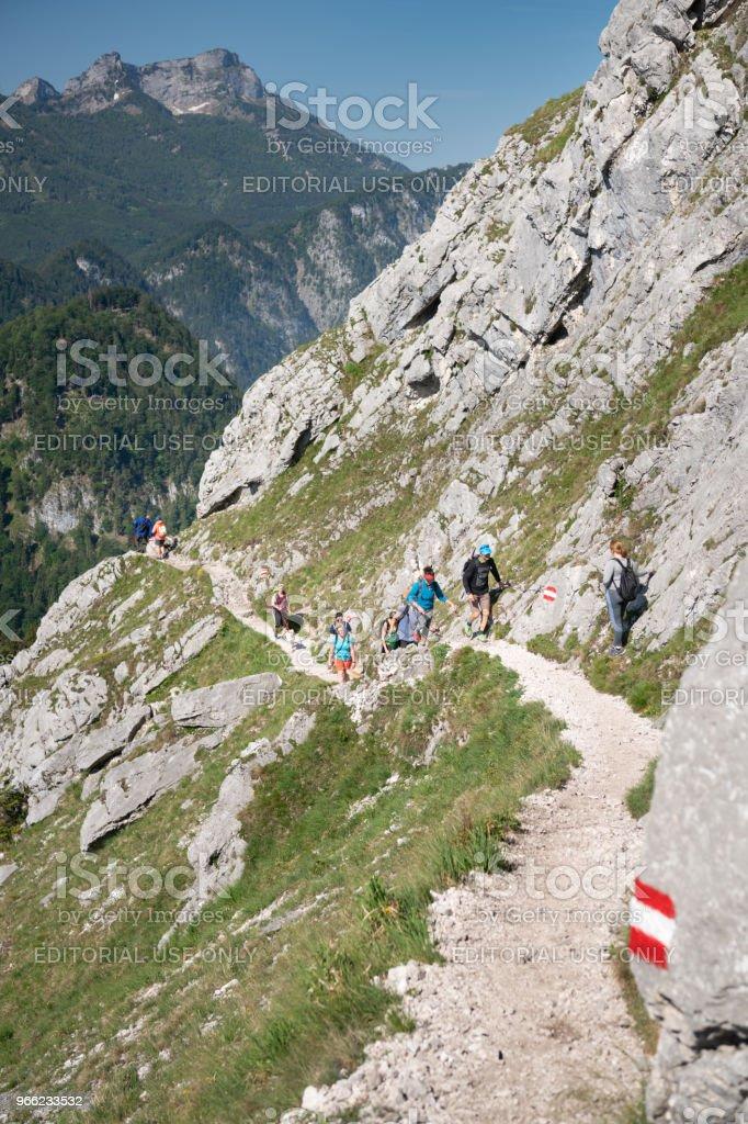 Touristen, Wandern, Berg Schoberstein, Österreich, Österreichische Alpen – Foto