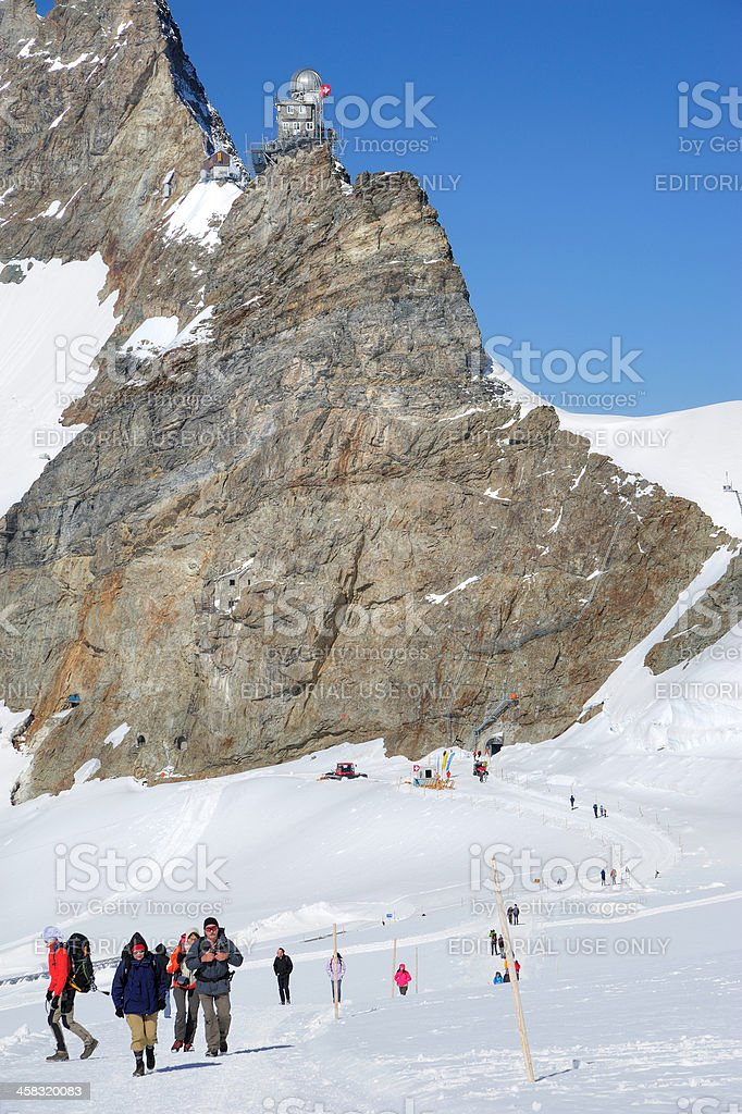 Tourists Hiking on Jungfrau Region, Switzerland royalty-free stock photo