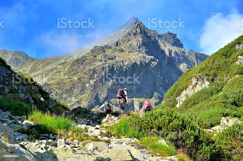 Tourists in a beautiful mountain valley. royalty-free stock photo
