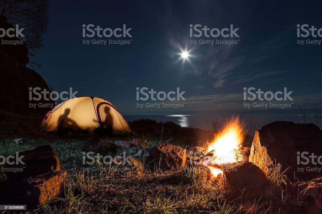 Touristen in einem Lager – Foto