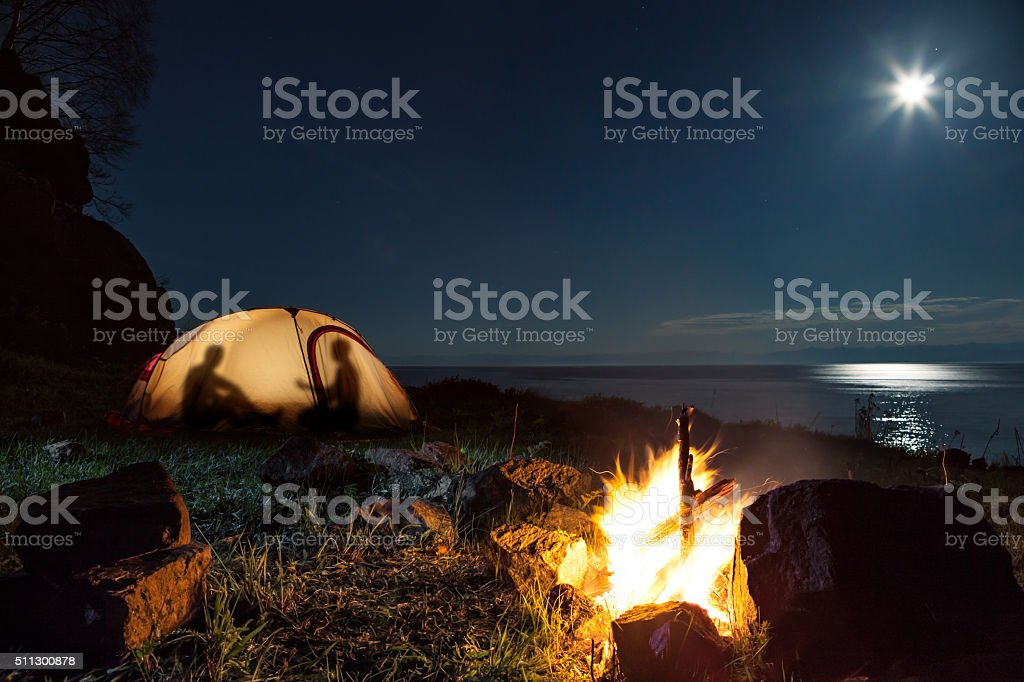 Tourists in a tent stock photo
