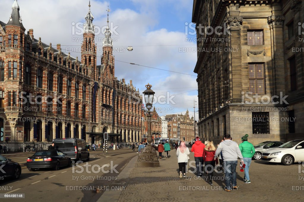 Tourists in Amsterdam, Holland stock photo