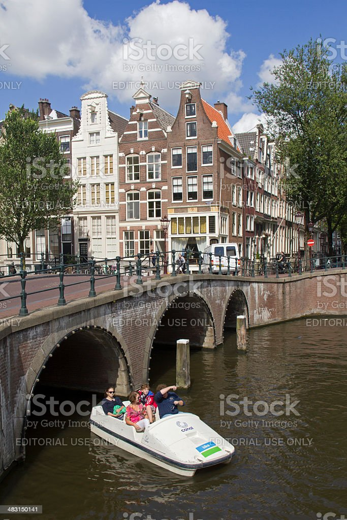 Tourists in Amsterdam stock photo