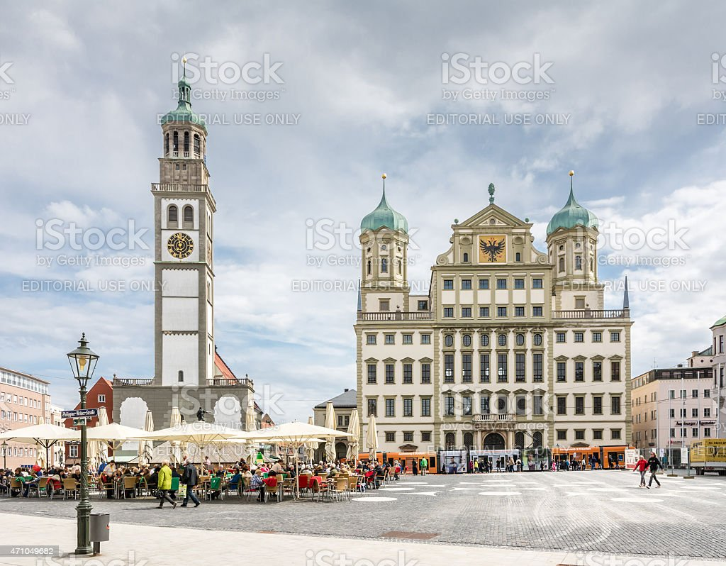 Tourists in Augsburg stock photo