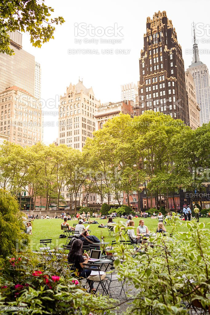 Tourists in Bryant Park, New York City stock photo