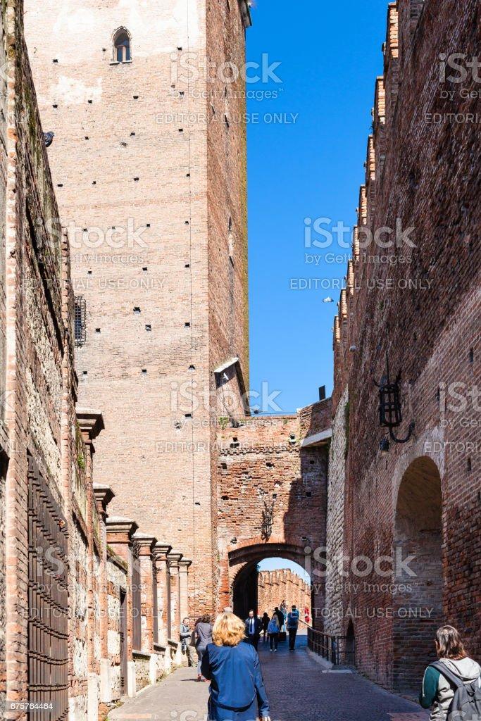 tourists in Castelvecchio (Scaliger) Castle stock photo