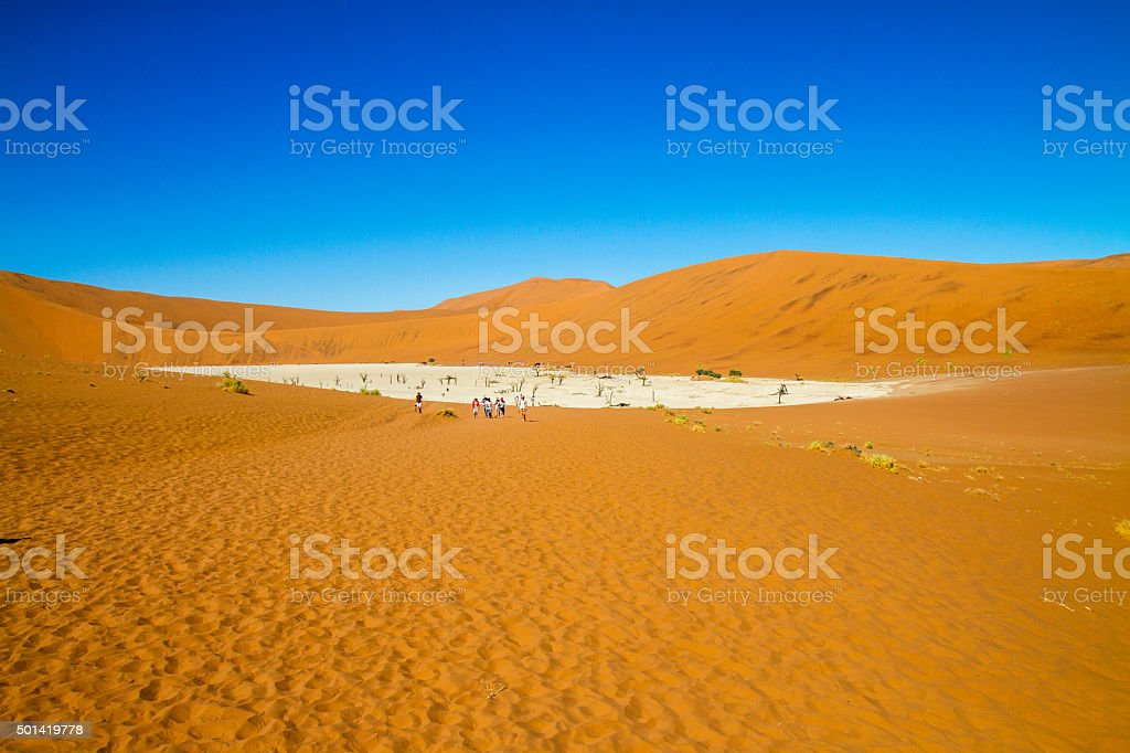 Tourists In Dead Vlei stock photo