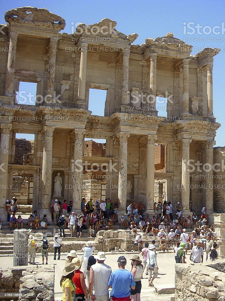 Tourists in Ephesus stock photo