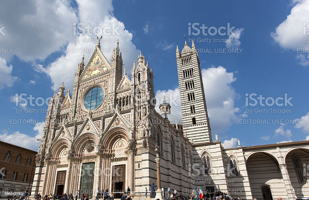 tourists in front of cathedral of Siena royalty-free stock photo