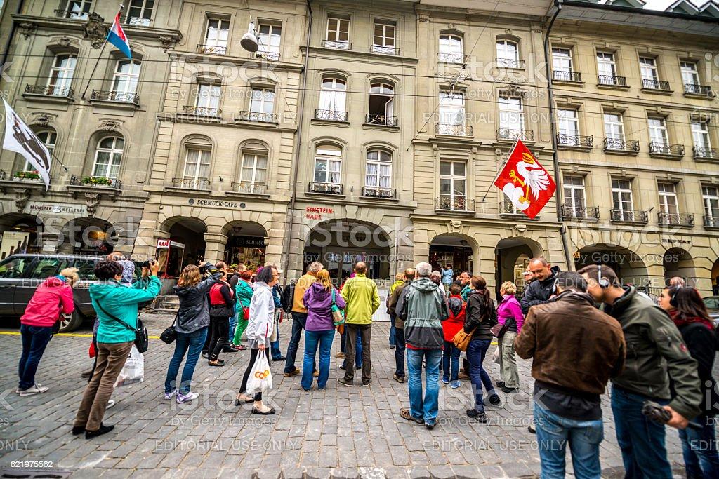 Tourists in front of Einsteinhaus in Bern, Switzerland - Photo