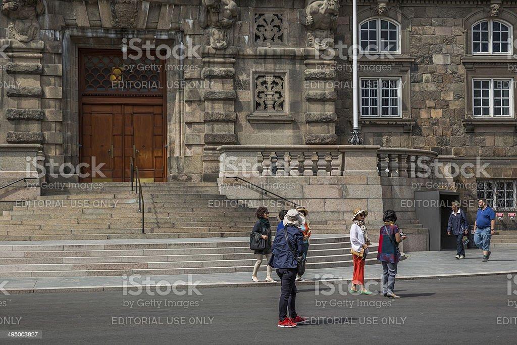 Tourists in front of the Danish Parliament, Folketinget, Copenhagen, Denmark stock photo