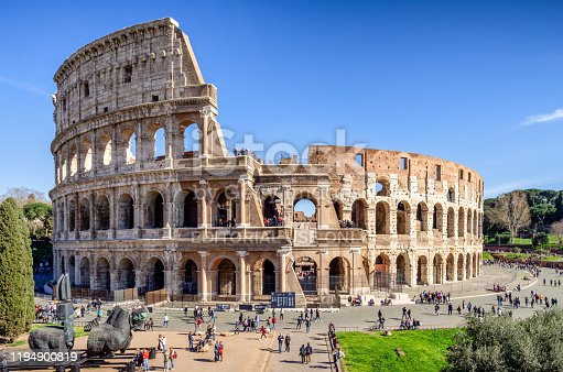 march 9, 2017 - Rome, Italy: tourists in front of The Roman Colosseum, Rome, Italy