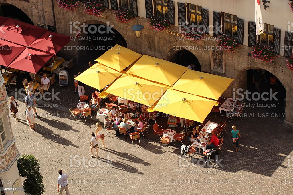Tourists in Innsbruck, Austria stock photo
