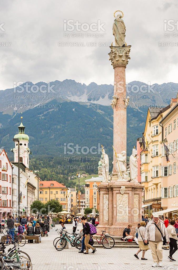 Tourists in Innsbruck stock photo