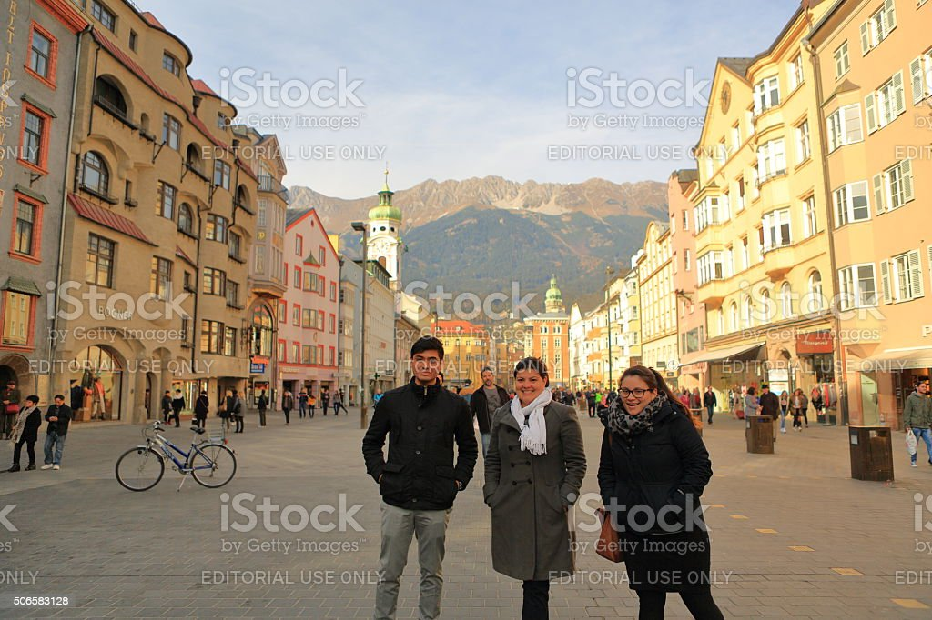 Tourists in Innsbruck Town Square on Maria Theresa Street stock photo