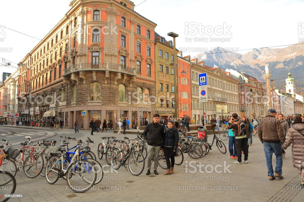 Tourists in Innsbruck Town Square stock photo