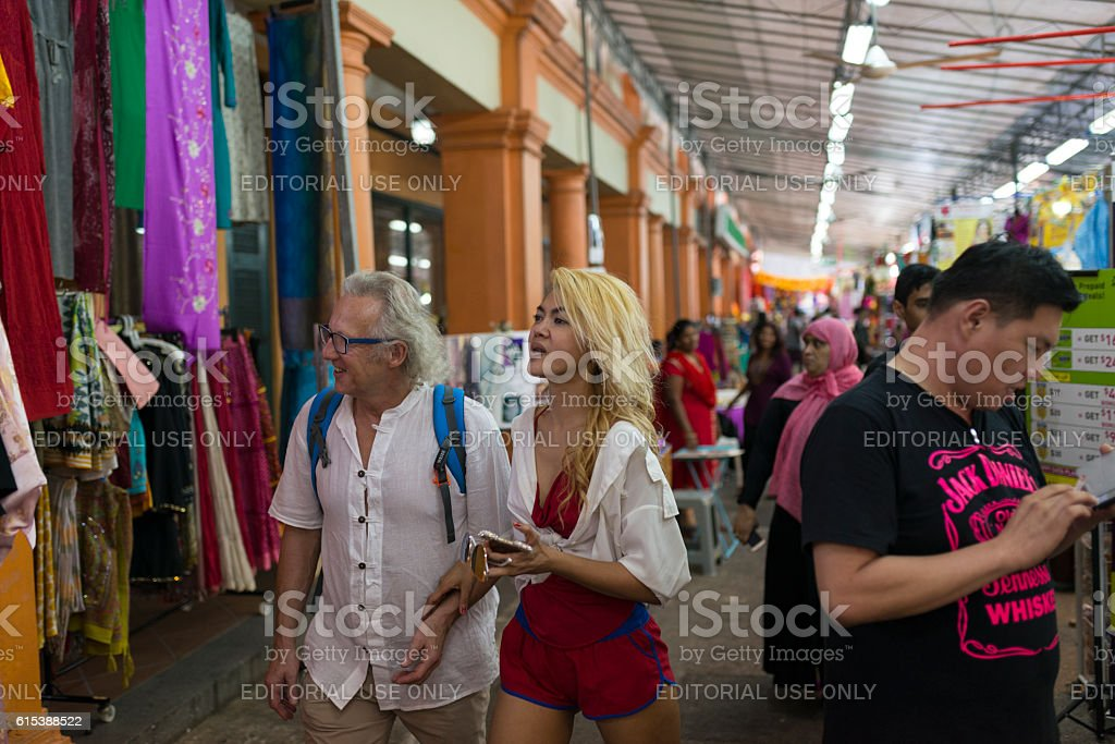 Tourists in Little India during Deepavali Festive Season. Singap stock photo