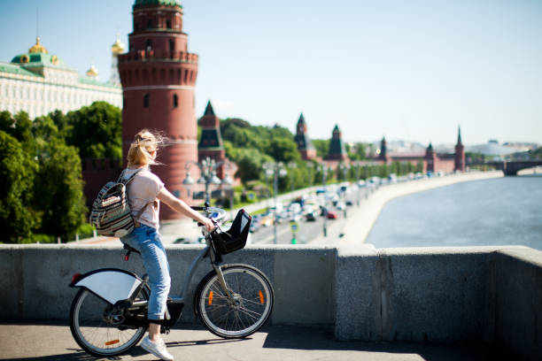Tourists in Moscow Kremlin stock photo
