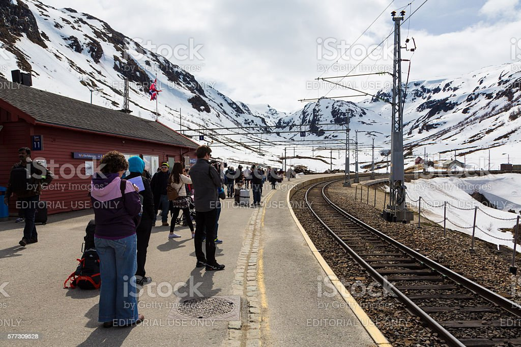 Tourists in Myrdal station in Norway stock photo