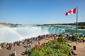 Niagara Falls: Niagara Falls is the collective name for three waterfalls that straddle the international border between Canada and the United States; more specifically, between the province of Ontario and the state of New York. They form the southern end of the Niagara Gorge.