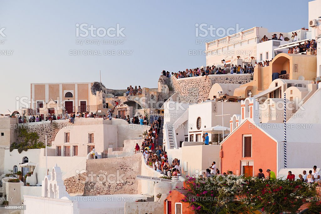 Tourists In Oía, Santorini royalty-free stock photo