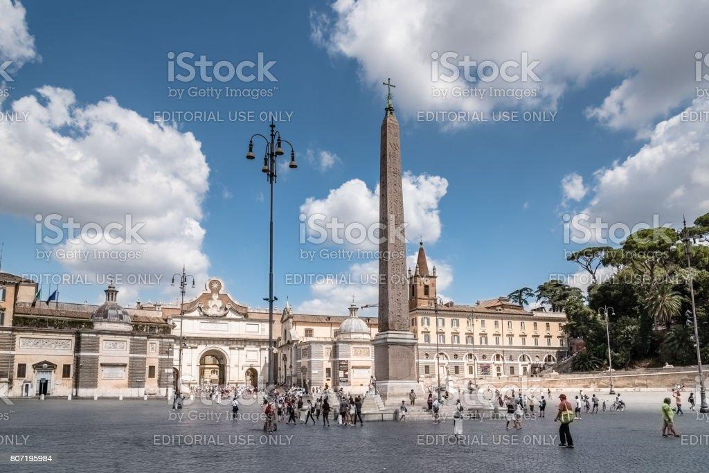 Tourists in Piazza del Popolo stock photo