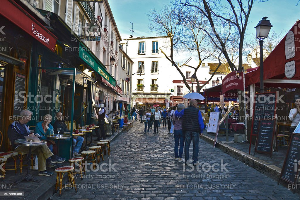 Tourists in Place du Tertre in Montmartre stock photo